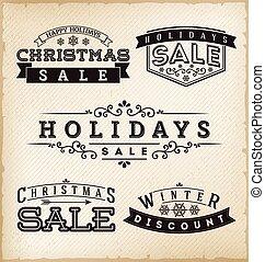 vakantie, etiketten, verkoop