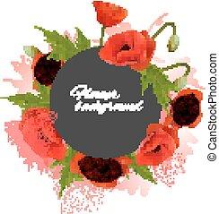 vakantie, flowers., vector, rode achtergrond