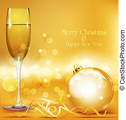 vakantie, gelul, jaar, vector, achtergrond, nieuw, champagne...