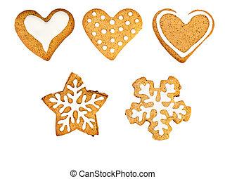vakantie, gember, koekjes, met, glazuur, vrijstaand, op wit
