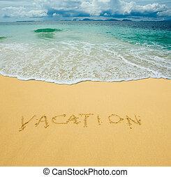 vakantie, geschreven, in, een, zanderig, tropisch strand