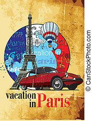 vakantie, grunge, parijs