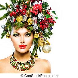 vakantie, hairstyle, makeup, woman., kerstmis