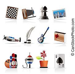 vakantie, hobby, vrije tijd, iconen