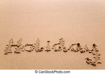 vakantie, in, zand, horizontaal