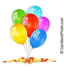 vakantie, jarig, ballons, viering, gekleurd