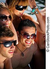 vakantie, jongeren, strand, groep