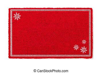 vakantie, mat, achtergrond, leeg, sneeuw, vrijstaand, welkom, wit rood, flakes