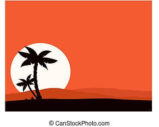 vakantie, ondergaande zon , retro, achtergrond
