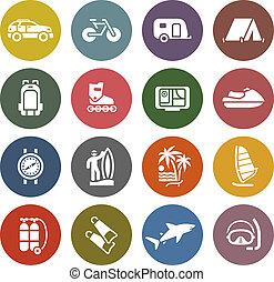 vakantie, ontspanning, &, reizen, iconen, set