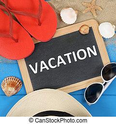 vakantie, op het strand, in, zomer, met, zonnebrillen