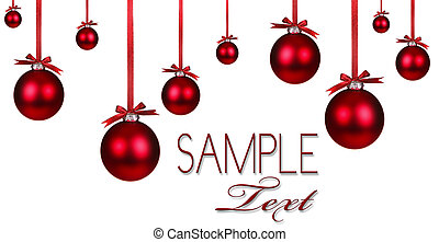 vakantie, ornament, kerstmis, achtergrond, rood