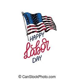 vakantie, poster., usa, kaart, lettering., amerikaan, illustratie, hand, vlag, vector, dag, arbeid, gegraveerde, style., groet