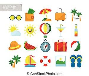 vakantie reis, pictogram, set, verpakken