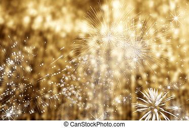 vakantie, ruimte, abstract, vuurwerk, -, achtergrond, jaar, nieuw, kopie