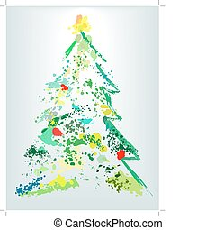 vakantie, splatter, verf , grunge, kerstboom