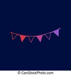vakantie, vlaggen, garlands, teken., vector., lijn, pictogram, met, helling, van, rood, om te, viooltje, kleuren, op, donker blauw, achtergrond.