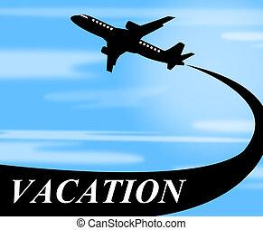 vakantie, vluchten, middelen, schaaf, reizen, en, lucht