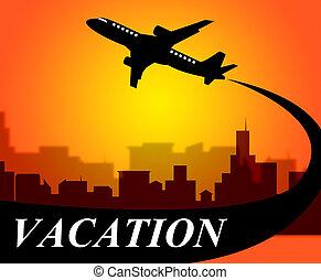vakantie, vluchten, middelen, tijd weg, en, vliegtuig