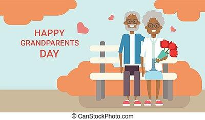 vakantie, zittende , grootouders, paar, groet, samen, grootvader, grootmoeder, amerikaan, afrikaan, bankje, spandoek, dag, kaart, vrolijke