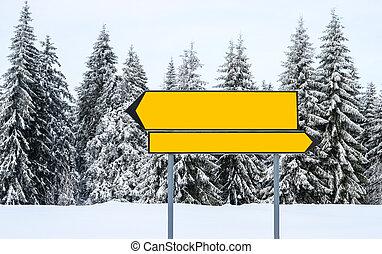 vakantiepark, berg, ski, richting, leeg, tekens & borden
