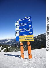 vakantiepark, richting, ski, signs., spoor