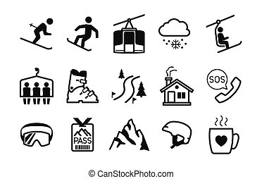 vakantiepark, ski, iconen