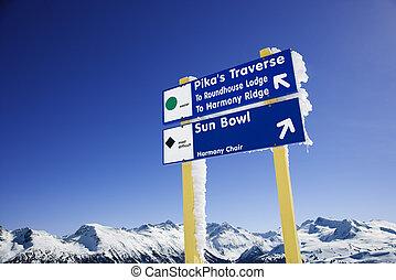 vakantiepark, ski, signs., spoor