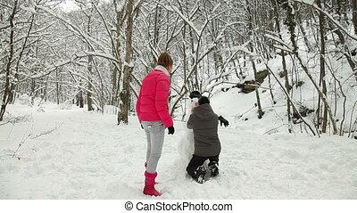 vakanties, in, de, winter, bos