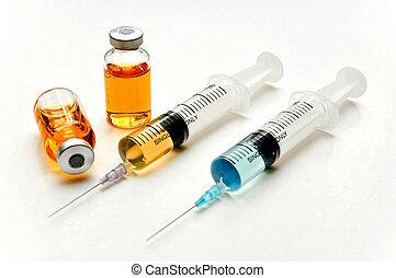vakcine, hos, hypodermisk injektionssprøjte, og, nål