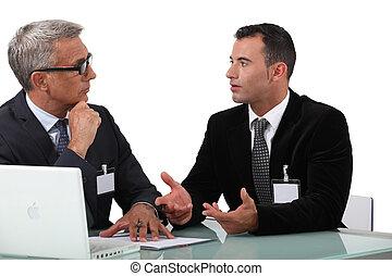 vakmensen, discussie, hebben, zakelijk