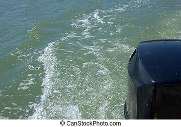 vakna, bak, motor båt