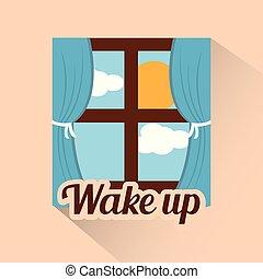 vakna, fönster, morgon, moln, sol, dag