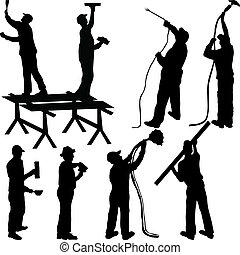 vakschilders, silhouettes, metselaars