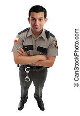 vakt, fängelse, föreståndare, eller, polisman