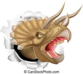 val, dinosaurus, triceratops, skrz, párání