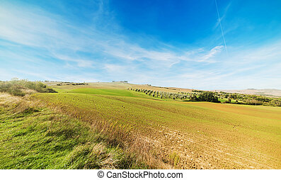 Val d'Orcia under a blue sky with clouds