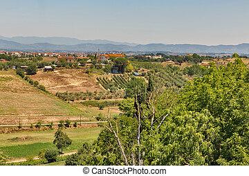 val, houses., d'arno, itaky., montopoli, tuscany, woongebied