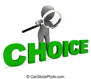 val, tecken, visar, val, dilemma, eller, alternativ