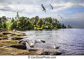 Valaam Island, Lake Ladoga. Nikitsky monastery. Church of...