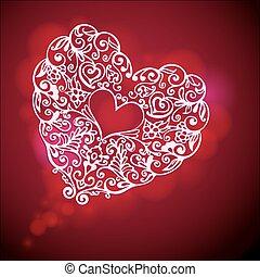 Valaentines Day flourish heart
