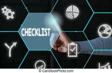 valami, átnyújtás, használ, hord, fogalom, checklist., hivatalos, elfoglaltság, részletes, lista, hím, lefelé, bemutatás, idegenvezető, szó, furfangos, emberi, device., szöveg, illeszt, írás, ügy, munka