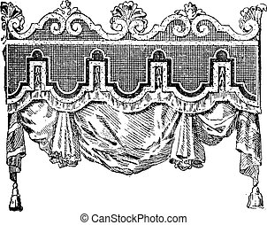 Valance, vintage engraved illustration. Dictionary of words and things - Larive and Fleury - 1895.