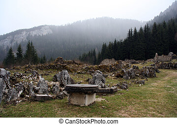 valchevriere ruins - stone ruins at the deserted village ...