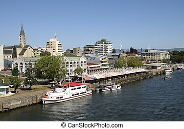 The Center of the Chilean town Valdivia