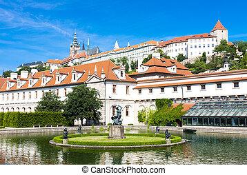 Valdstejnska Garden and Prague Castle, Prague, Czech Republic