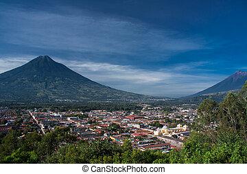 vale, de, antígua guatemala, e, dois, vulcões
