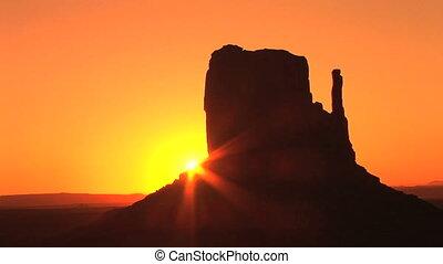 vale monumento, amanhecer, lapso tempo