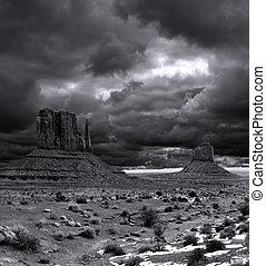 vale, nublado, céus, monumento