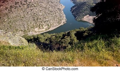 Valeira Dam and surrounding landscape near the village of...